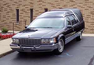 Cadillac Fleetwood hearse 1990s. Photographed ...