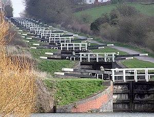 Devizes - A flight of 16 locks climbs Caen Hill near Devizes, on the Kennet and Avon Canal