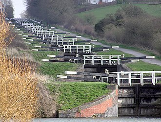 Devizes - A flight of 16 locks climbs Caen Hill near Devizes, on the Kennet and Avon Canal
