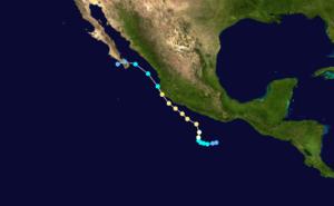 Hurricane Calvin (1993) - Image: Calvin 1993 track