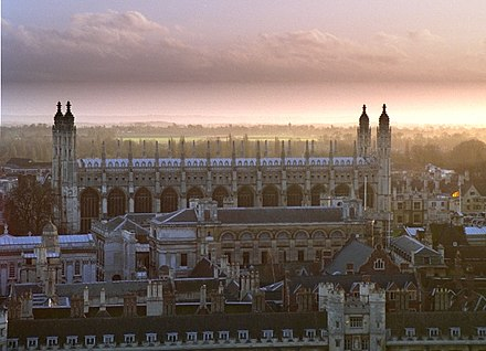 View over Trinity College, Gonville and Caius, Trinity Hall and Clare College towards King's College Chapel, seen from St John's College chapel whereas on the left, just in front of King's College chapel, is the University Senate House Cam colls from johns.jpg