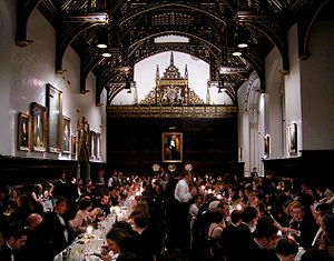 Loyal toast - A formal occasion at St John's College, Cambridge, where, beneath the Royal Coat of Arms of the United Kingdom, the Loyal Toast would be given