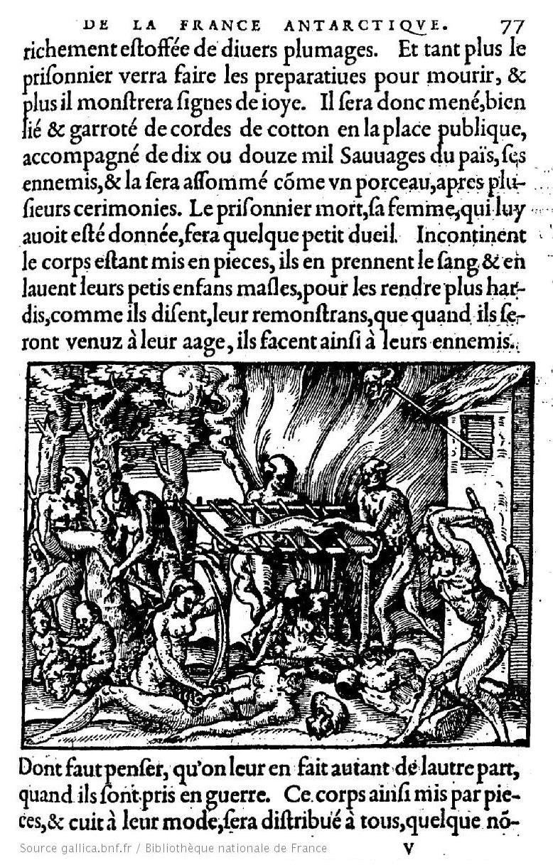 Cannibalism in Brazil ('French Antarctica') in 1555, by André Thevet