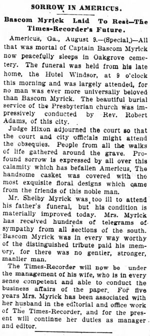 Marie Louise Scudder Myrick - The report on the funeral of Capt. Myrick from the Atlanta Constitution, 1895