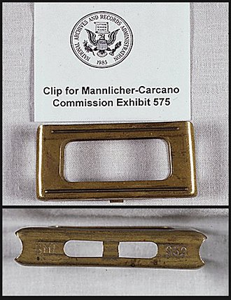 John F. Kennedy assassination rifle - En bloc clip used in Oswald's Carcano rifle.
