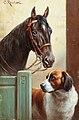 Carl Reichert - Friends, a bay and a St Bernard in a stable.jpg