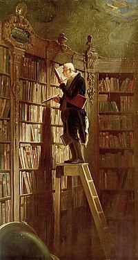 old man standing on top of stepladder in library with very tall shelves