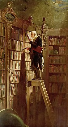 Nineteenth century oil painting of a man on a step-ladder selecting and reading books from a tall bookcase.