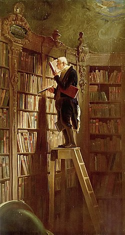 Oil-on-canvas painting The Bookworm by Carl Spitzweg, circa 1850.