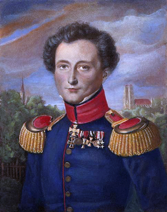 Carl von Clausewitz - Portrait while in Prussian service, by Karl Wilhelm Wach