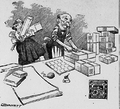 Cartoon of man pasting Christmas seals on package while woman brings more gifts.png