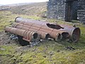 Cast iron pipes over Lane End mine shaft - geograph.org.uk - 1752469.jpg