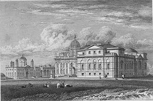 Castle Howard - A view of Castle Howard in 1819, from the north-west, showing the contrasting Palladian West Wing which was built in the mid-18th century.