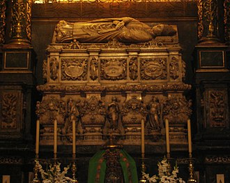Olegarius - Sepulcher of Saint Olegarius, side chapel of Christ of Lepanto, Cathedral of Barcelona.