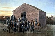 Painting of Liberty Jail, where Smith was held for several months.