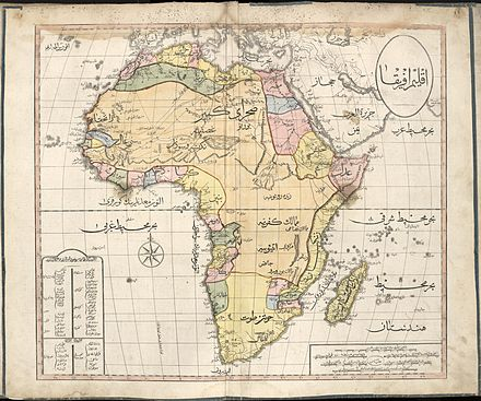 1803 Cedid Atlas, showing a map of the African continent from the perspective of the Ottoman Empire. The Ottomans controlled much of Northern Africa between the 14th and 19th centuries, and had vassal arrangements with a number of Saharan states. Cedid Atlas (Africa) 1803.jpg
