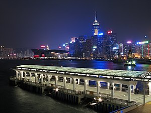 Night Scene of Pier 9, Central Piers, Hong Kon...