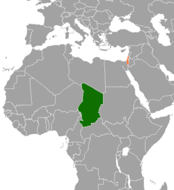Map indicating locations of Chad and Israel