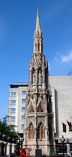 Queen Eleanor Memorial Cross replica of the medieval Charing Cross outside Charing Cross railway station, London