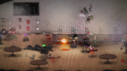 Four characters stand at the center of a bar, fighting off zombies and ninjas coming towards them from both sides. One of the characters has grabbed a zombie and is on the way down from a pile-driver move.