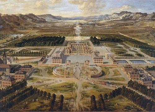 ルイ13世の小城館を改築した造営初期のヴェルサイユ宮殿Pierre Patel画、1668年頃。