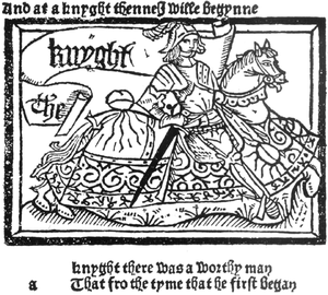 Lithuanian Civil War (1389–92) - Portrait of an English Knight, from the General Prologue of The Canterbury Tales. The fictional knight took part in many crusades, including one against the Lithuanians.