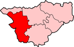 Chester shown within Cheshire