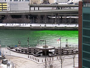 Flow tracer - Fluorescein in the Chicago River on the St. Patrick's Day (added for celebration, rather than tracing).