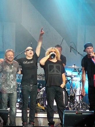 Chickenfoot - Live at the Bospop festival, 2009.  Left to right: Michael Anthony, Joe Satriani, Sammy Hagar, Chad Smith.