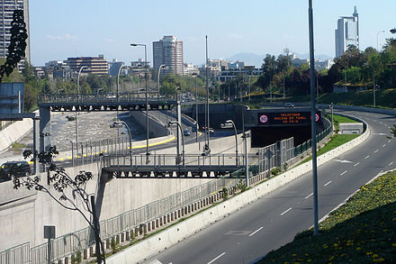 """Costanera Norte"" Freeway, crossing downtown with 100% free flow, Santiago, Chile"