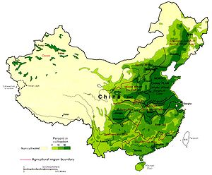Northern and southern China - The Qin Mountains and Huai River also mark the approximate boundary between wheat and rice cultivation.