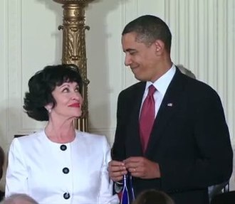 Chita Rivera - Rivera with US President Barack Obama prior to receiving the Presidential Medal of Freedom, August 2009