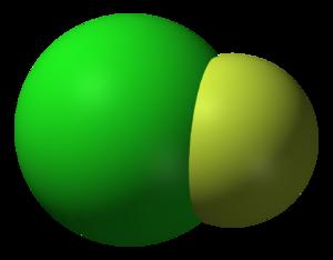 Chlorine monofluoride - Image: Chlorine monofluoride 3D vd W