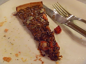 Chocolate pizza - A slice of chocolate pizza in Brazil