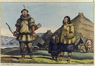 Siberia - Chukchi, one of many indigenous peoples of Siberia. Representation of a Chukchi family by Louis Choris (1816)