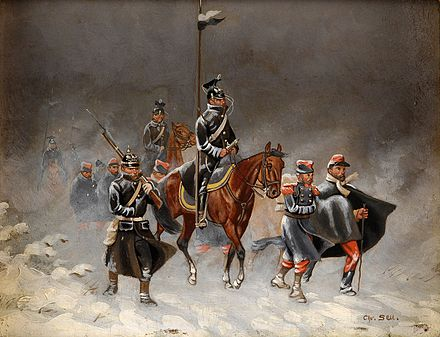 German uhlans and an infantryman escorting captured French soldiers Christian Sell Winterfeldzug 1870.jpg