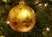 A bauble on a Christmas tree.