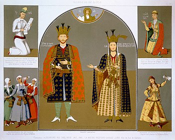 Chromolithograph Depicting Georgian King Alexander I and Queen Nastane-Dared Jane with Other Royal Figures by Armand Theophile Cassagne.jpg