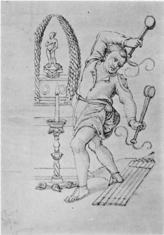 Megalesia - Illustration of the month of April based on the Calendar of Filocalus (354 AD), perhaps either a Gallus or a theatrical performer for the Megalesia