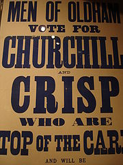 Churchill's election poster for the 1899 by-election in Oldham, which he lost.