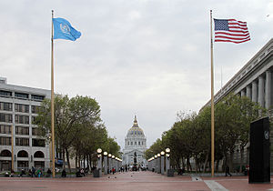 Civic Center, San Francisco - San Francisco Civic Center, looking west along UN Plaza to City Hall