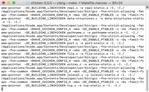 Clang being used to compile Chicken