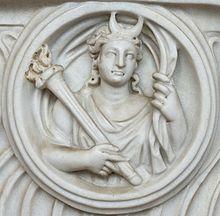 Busto de Selene, diosa de la Luna, en las Termas de Diocleciano.