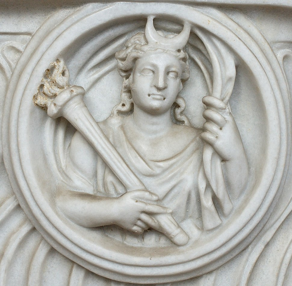 Detail of Selene from a Roman sarcophagus
