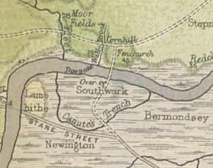River Neckinger - Route of Canute's Trench south of the River Thames from A History of London (1884) by W. J. Loftie. The early section of the Neckinger, where it crossed the Old Kent Road, was known by this name.