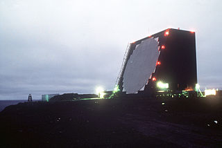 Cobra Dane US radar installation for monitoring Soviet missile tests