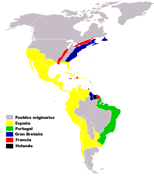 European colonies and claimed areas in the Americas, ca. 1750. Colonias europea en America siglo XVI-XVIII.png