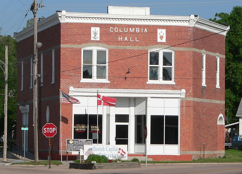 Columbia Hall was built in 1908 by the Danish Brotherhood in America. It is now the Dannebrog Archives and Tourist Center.