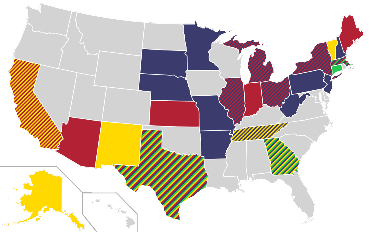 Filecombined Home States Of Democratic Party Libertarian Party - Us-map-of-democratic-and-republican-states