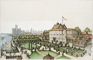 C. Walter Hodges - Conceptual drawing for Shakespeare's Globe in Detroit